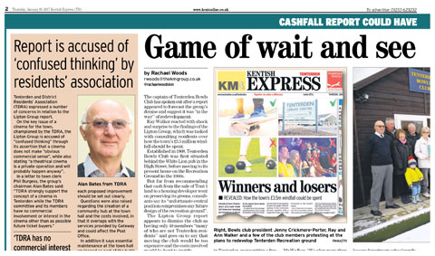 TDRA Press Extract on Lipton Group Report, Kentish Express Tenterden 19th January 2017