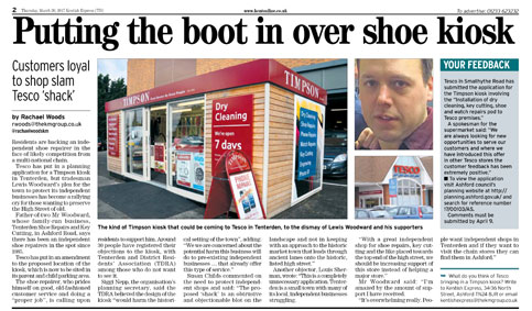 Kentish Express (TD) coverage of plans for new shoe repair kiosk at Tesco
