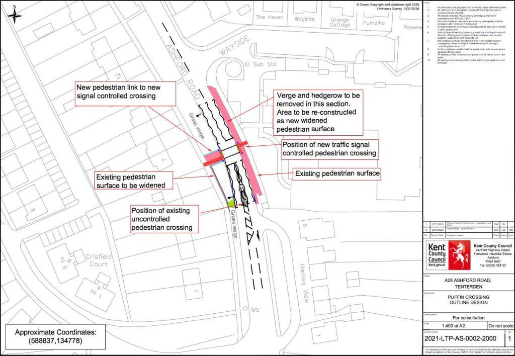 A28 Ashford Road, St Michaels, Tenterden pedestrian crossing location